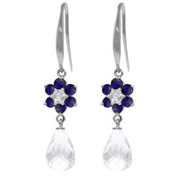 Genuine 5.51 ctw Sapphire, White Topaz & Diamond Earrings Jewelry 14KT White Gold - REF-49N8R