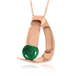 Genuine 1 ctw Emerald Necklace Jewelry 14KT Rose Gold - REF-58A4K