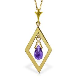 Genuine 0.70 ctw Amethyst Necklace Jewelry 14KT Yellow Gold - REF-23F9Z