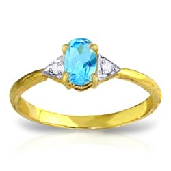 Genuine 0.46 ctw Blue Topaz & Diamond Ring Jewelry 14KT Yellow Gold - REF-22A5K