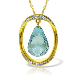 Genuine 11.60 ctw Blue Topaz & Diamond Necklace Jewelry 14KT Yellow Gold - REF-112F2Z