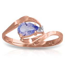 Genuine 0.51 ctw Tanzanite & Diamond Ring Jewelry 14KT Rose Gold - REF-29R3P