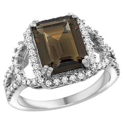 Natural 3.08 ctw smoky-topaz & Diamond Engagement Ring 14K White Gold - REF-106W3K