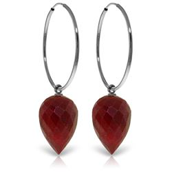Genuine 26.1 ctw Ruby Earrings Jewelry 14KT White Gold - REF-36V9W