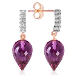 Genuine 19.15 ctw Amethyst & Diamond Earrings Jewelry 14KT Rose Gold - REF-47W4Y