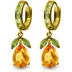 Genuine 14.3 ctw Citrine & Peridot Earrings Jewelry 14KT Yellow Gold - REF-82A9K
