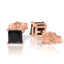 Genuine 1.0 ctw Black Diamond Earrings Jewelry 14KT Rose Gold - REF-46V7W
