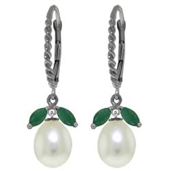 Genuine 9 ctw Emerald & Pearl Earrings Jewelry 14KT White Gold - REF-41Y4F