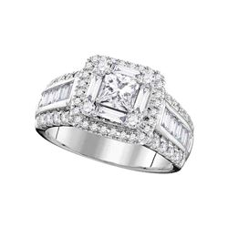 1.75 CTW Princess Diamond Solitaire Halo Bridal Engagement Ring 14KT White Gold - REF-269W9K