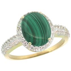 Natural 2.56 ctw Malachite & Diamond Engagement Ring 14K Yellow Gold - REF-39H7W