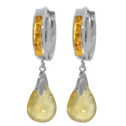 Genuine 6.85 ctw Citrine Earrings Jewelry 14KT White Gold - REF-49P6H