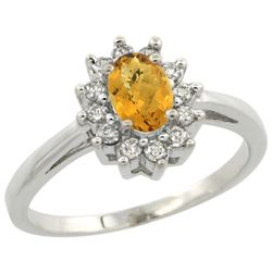 Natural 0.67 ctw Whisky-quartz & Diamond Engagement Ring 10K White Gold - REF-38R6Z