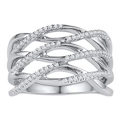 0.25 CTW Diamond Openwork Crossover Strand Ring 10KT White Gold - REF-33K8W