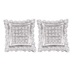 0.50 CTW Diamond Square Kite Cluster Earrings 10KT White Gold - REF-38H9M