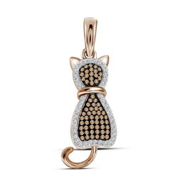 0.25 CTW Red Color Diamond Kitty Cat Animal Pendant 10KT Rose Gold - REF-30H2M