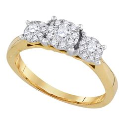0.50 CTW Flower Cluster Diamond Bridal Wedding Engagement Ring 14k Yellow Gold - REF-67N4F