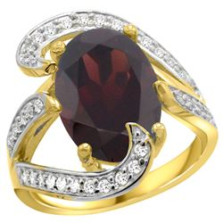 Natural 7.24 ctw garnet & Diamond Engagement Ring 14K Yellow Gold - REF-144H3W