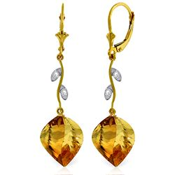 Genuine 23.52 ctw Citrine & Diamond Earrings Jewelry 14KT Yellow Gold - REF-62F9Z