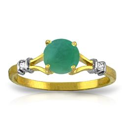 Genuine 0.62 ctw Emerald & Diamond Ring Jewelry 14KT Yellow Gold - REF-33H6X