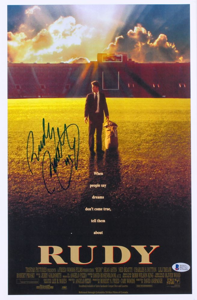 rudy ruettiger signed rudy 11x17 movie poster beckett coa