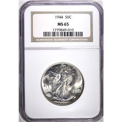 1944 WALKING LIBERTY HALF DOLLAR, NGC MS-65