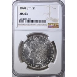 1878 8TF MORGAN DOLLAR, NGC MS-63