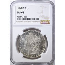 1878-S MORGAN DOLLAR, NGC MS-63