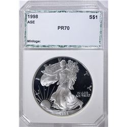 1998-P AMERICAN SILVER EAGLE, PCI PERFECT GEM PR