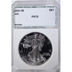 2001-W AMERICAN SILVER EAGLE, PCI PERFECT GEM PR