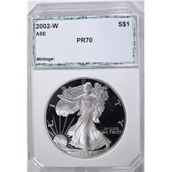 2002-W AMERICAN SILVER EAGLE, PCI PERFECT GEM PR