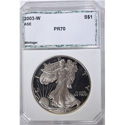 2003-W AMERICAN SILVER EAGLE, PCI PERFECT GEM PR