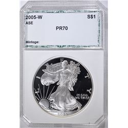 2005-W AMERICAN SILVER EAGLE, PCI PERFECT GEM PR