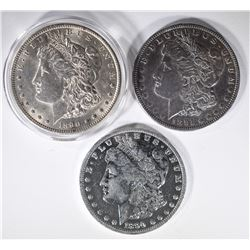 3 MORGAN DOLLARS: 1890-S AU, 1891 XF &