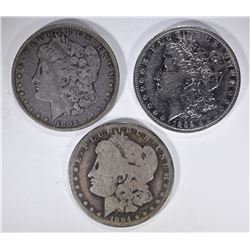 3 MORGAN DOLLARS: 1892-O XF,