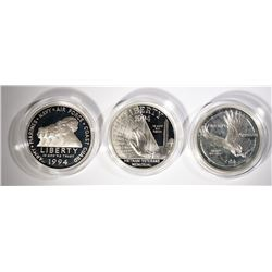 1994 VETERANS 3 pc COMMEM PROOF SILVER $1 SET