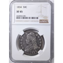 1834 CAPPED BUST HALF DOLLAR, NGC XF-45