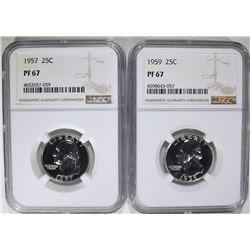 1957 & 1959 WASHINGTON QTRS NGC PF67