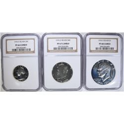 3 - 1976-S SILVER NGC COINS; 25c PF66 CAMEO,