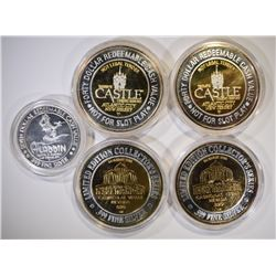 4 - SILVER CASINO TOKENS w/24k GOLD