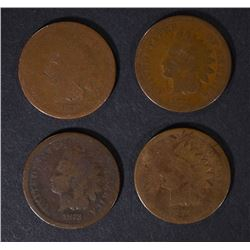 1870, 1873, 1873, 1875 INDIAN CENTS