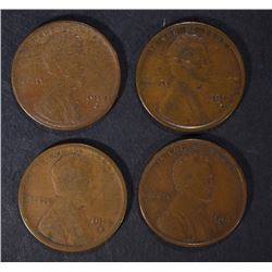 4 - 1913-S LINCOLN CENTS GOOD, 2-FINE,