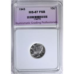 1943 MERCURY DIME NGP SUPERB GEM