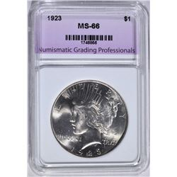1923 PEACE DOLLAR NGP SUPERB GEM