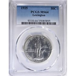 1925 LEXINGTON COMMEM HALF PCGS MS-64