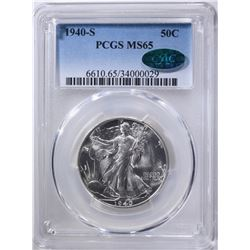 1940-S WALKING LIBERTY HALF PCGS MS-65 CAC