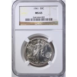 1941 WALKING LIBERTY HALF NGC MS-65