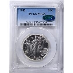 1942 WALKING LIBERTY HALF PCGS MS-65 CAC