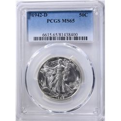 1942-D WALKING LIBERTY HALF PCGS MS-65