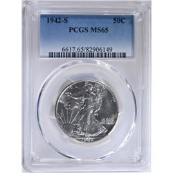 1942-S WALKING LIBERTY HALF PCGS MS-65