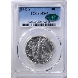 1943-S WALKING LIBERTY HALF PCGS MS-65 CAC